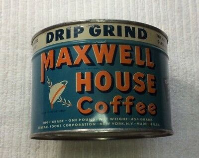 Vintage Maxwell House Unopened Tin Key-Open Drip Grind Coffee 1 lb. N1245