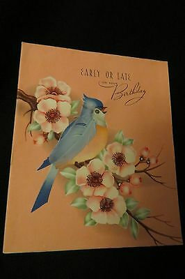 """Vintage BLUE Jay Bird Brithday Card """"early or late"""" c. 1940s by: J.S. Pub. corp"""