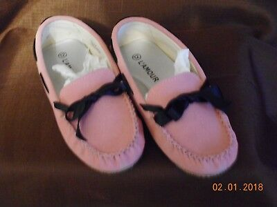 9e63a1aadb92 GIRLS L  AMOUR   Angels pink oxford loafers w. black ribbon size 12 ...