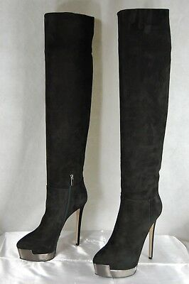 f80e51eec0b EINO FOR LE Silla Hi Heel Studded Black Suede Over The Knee Boots Eu ...