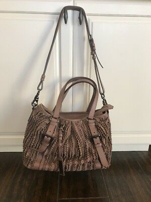 Burberry Rose Purple Leather Cartridge Pleated Large Lowry Tote Bag VG  Condition 9f1d6f16a0da5