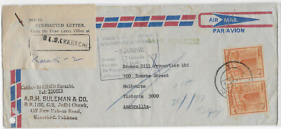 1978 Pakistan to Australia Return to Sender DLO commercial cover