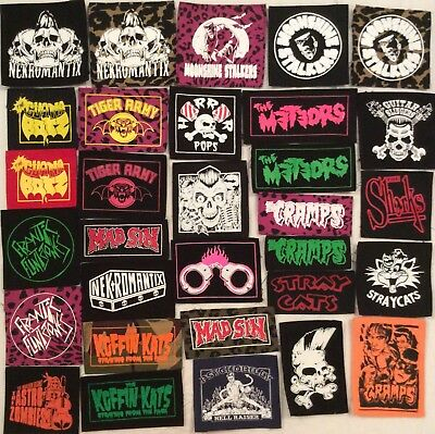 PSYCHOBILLY BANDS patches punk rockabilly Meteors Cramps Stray Cats Tiger Army