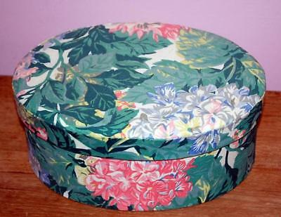 Floral Fabric Oval Box Storage Bin Green Rose Shabby Cottage Chic