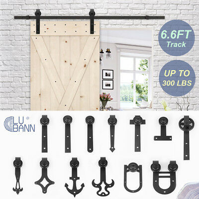 LUBANN 6.6FT Sliding Barn Wood Door Sliding Track Hardware Kit