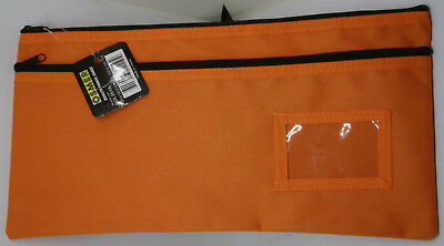 Osmer Pencil Case Orange 350 x 180 mm 2 black zips with name insert LOT 13