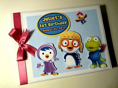 Personalised Pororo Penguin Boy/girl /first/1St Birthday Guest Book Any Design
