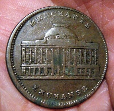 1837 Hard Times TOKEN, COIN, New York MERCHANTS EXCHANGE Joint Stock Co., VG/F+