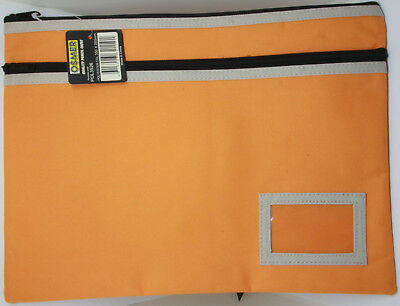 Osmer Pencil Case Large Orange 350 x 260 mm 2 black zips with name insert LOT 17