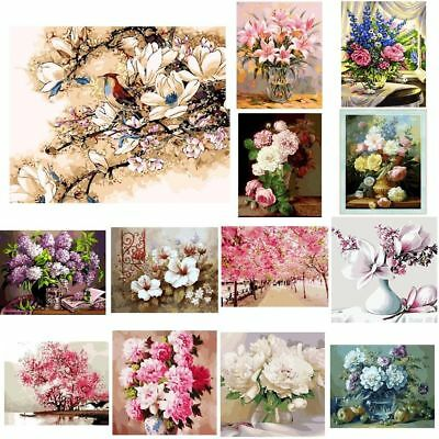 AU Flower DIY Digital Oil Painting Kits Paint by Numbers Canvas Home Wall Decor