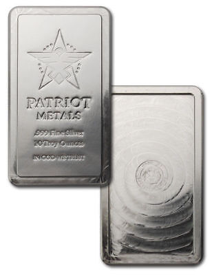 10 oz. 999 Fine Silver Bar - Patroit Stackable Bar By Scottsdale Mint