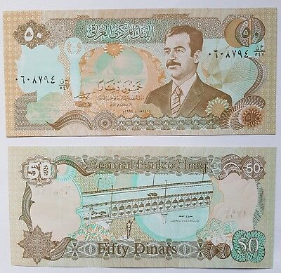 Saddam Hussan 50 Dinar IRAQI bank notes. 2 consecutive notes in mint condition