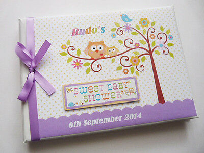 Personalised Happi Tree (Lilac) Baby Shower Boy/girl Guest Book - Any Design
