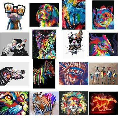 Paint By Number Kit DIY Acrylic Oil Painting Canvas Colorful Animal Home Decor