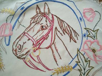 Horse in Bridle ~ Horse shoe and flowers   ~ Vintage Hand Embroidered center/mat