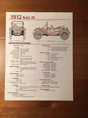 1912 Buick 28 Specification Sheet Magazine Ad