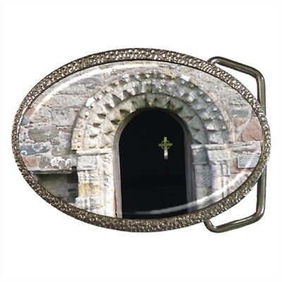 Ancient Christian Monastery and Cross Belt Buckle Silver Metal