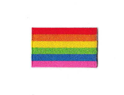 GAY PRIDE FLAG IRON ON / SEW ON PATCH Embroidered Badge Motif LGBT PT363