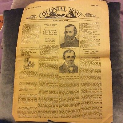 1969 Daily Mirror Facsimile of 1863 Colonial Post - Burke & Wills