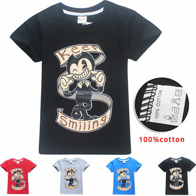 Bendy ink Machine Cotton Boys Children Kids Summer Short T-shirt Tee Top Shirt