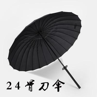 Long Handle Fully Automatic Umbrella Windproof Rain  Or Sun Katana Handle Design