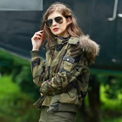 Women Winter Camouflage Jacket Thick Hooded Coat Military Clothings Slim Cottons