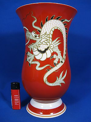 "Well shaped Schaubach Kunst ""Chinese Dragon"" Art Deco design porcelain vase 27cm"