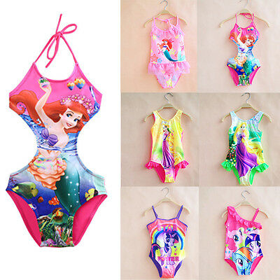 Kid Girl Summer Cartoon Swimming Costume Swimsuit Swimwear One-Piece 2-10Years
