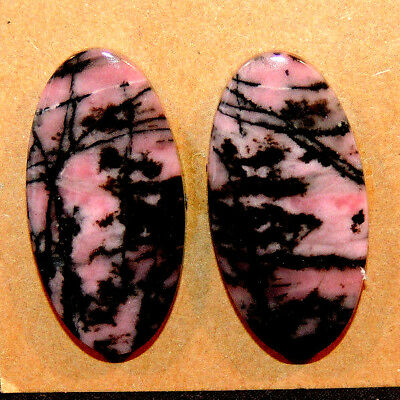 Pink Rhodonite Cabochons 30x15mm with 5mm dome set of 2 (13285)