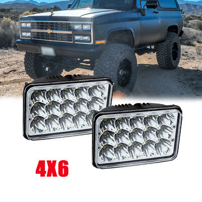 """2PCS 4x6"""" 45W LED Headlights For Chevy RV V10 R30 Caprice Monza SUV 4WD Truck"""
