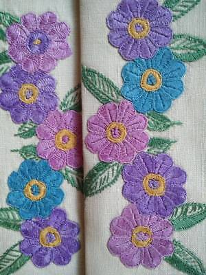 Superb colourful Flowers   ~ Vintage hand embroidered Centrepiece