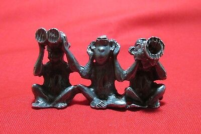 Pewter Monkey  Figurine See No Evil Speak No Evil  Hear No Evil