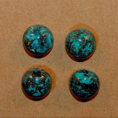 Chrysocolla Pair Cabochons 10mm with 6mm dome from Peru set of 4 (13281)