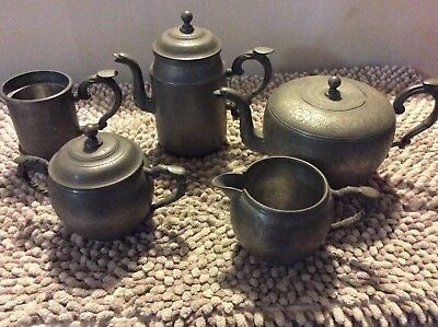 Stunning Antique Chinese Engraved Kut Hing Swatow Pewter - 5 Piece Set