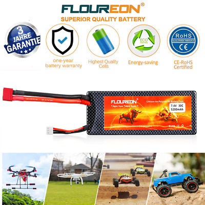 2S 30C 7.4V 5200mAh Lipo RC Battery Deans for RC Helicopter Car Truggy Airplane