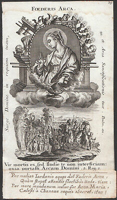 Original Rococo Engraving Holy Card 18th St. Mary Ark of the Covenant Klauber