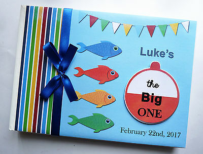 Personalised Fishing Themed Boy/girl First/1St Birthday Guest Book Any - Design