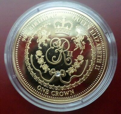 15 Coins  QUEEN Elizabeth II's 90th Birthday Imperial Crown Plated in 24k Gold