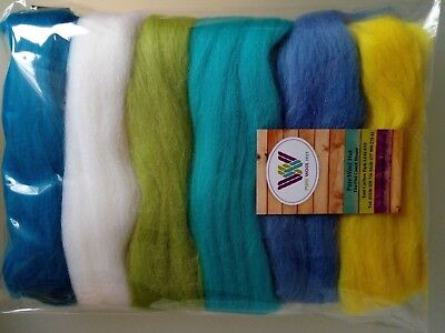 Holiday set* Pure Wool Tops for felting 6 colours: white yellow green blue 60g