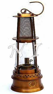 Vintage Portable Solid Brass Marine Ship Lantern Nautical Minor Oil Lamp 12''