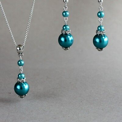 Teal blue green pearls silver necklace earrings wedding bridesmaid bridal set