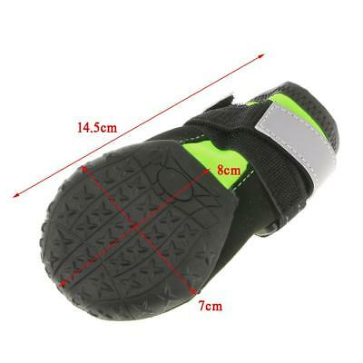 4-Set Dog Shoes Rain Shoes Snow Boot Reflective Rugged Non-Slip Sole L Green