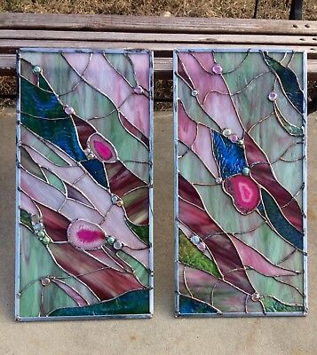 Stained Glass Transom Abstract Panel   w/ Brazilian Agate Cabinets Inserts