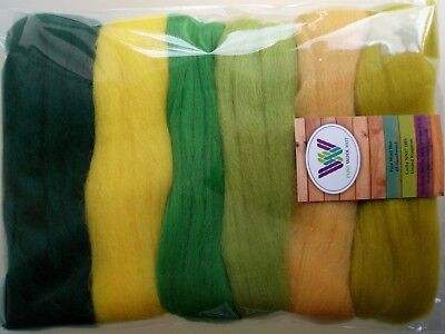Easter set* Pure Wool Tops for felting 6 colours: white yellow green pack of 60g