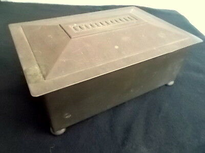 🔴REDUCED Antique Art Nouveau Repousse Copper Box  Wood Lining Hinged Lid Patina