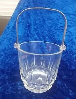 🔴REDUCED  Solid Glass Ice Bucket - Glass Pattern Design with Metal Handle EC