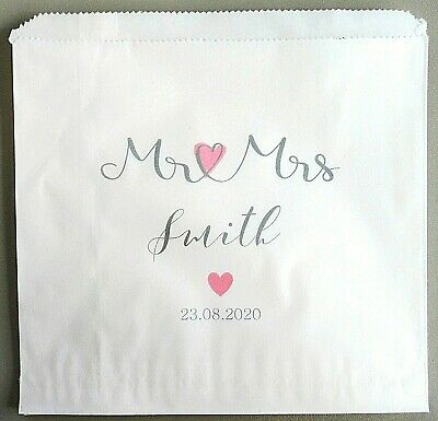 Personalised Vintage Brown/White Kraft Paper Wedding Sweet Bags for Candy Buffet