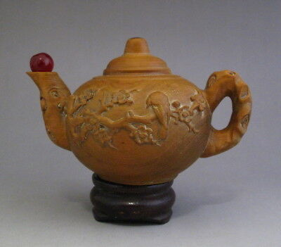lovely Chinese Hand Carved Wood Teapot Shape flower bird Small Ornaments statue