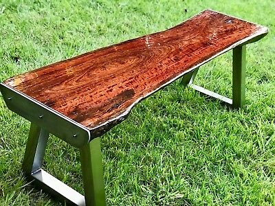 Wooden bench live edge with stainless steel frame and trim,relax,home furniture