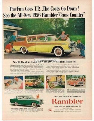 1956 Rambler Custom Station Wagon 2-tone 4-door Vtg Print Ad